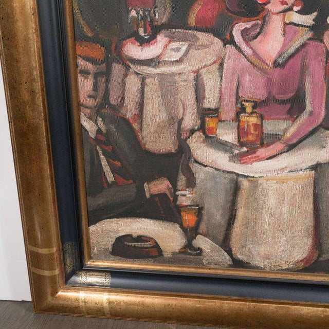"""Art Deco Oil on Canvas Painting, Entitled """"Aux Chat Qui Peche"""" For Sale In New York - Image 6 of 11"""