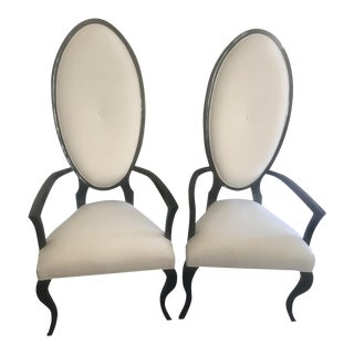 Black Lacquer Dining Chairs - A Pair For Sale