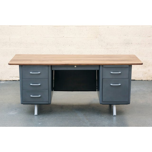 Industrial Mid Century Tanker Desk With Custom Walnut Top For Sale - Image 3 of 7