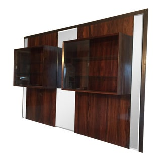 Mid-Century Modern Maurice Villency Wall Mounting Rosewood China Cabinet With Mirror For Sale