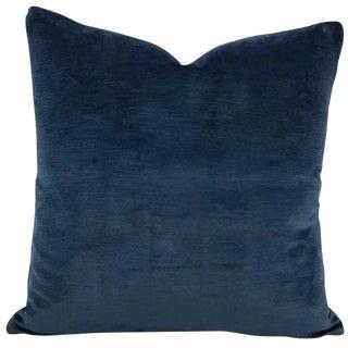 "Schumacher Antique Navy Linen Velvet Pillow - 20"" X 20"" For Sale"