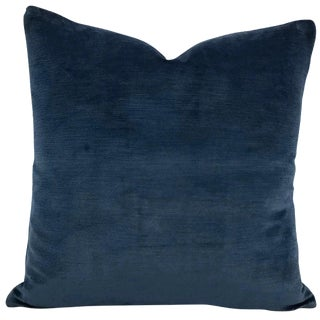 "Schumacher Antique Navy Linen Velvet Pillow Cover - 20"" X 20"" For Sale"