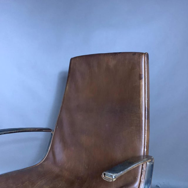 "Fabricius & Kastholm ""Logos"" Leather Swivel Chair, 1970s For Sale - Image 11 of 12"
