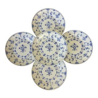 "Vintage English Blue and White ""Danish"" Plates - Set of 5 For Sale"