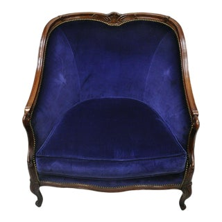 Beacon Hill Henredon Blue French Louis XV Style Lounge Arm Chair For Sale