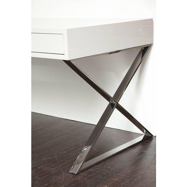 Modern Custom Oversized High Gloss Lacquer Desk For Sale - Image 3 of 10