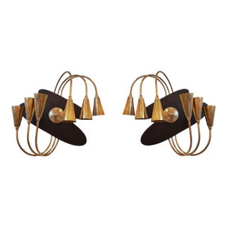 Italian Mid-Century Modern Brass Wall Sconces by Stilnovo - a Pair For Sale