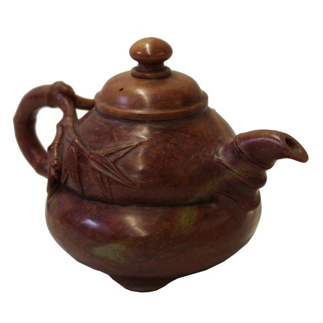 Asian Chinese Brown Red Soap Stone Carved Teapot Display Art For Sale - Image 3 of 7