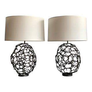 Modern Sculptural Iron Orb Lamps – A Pair