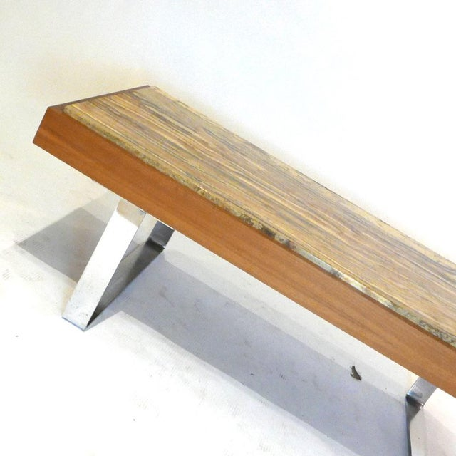 Ilse Möbel Coffee Table With Rare 'Onyx Travertine', Teak & Chrome From Germany For Sale In New York - Image 6 of 12