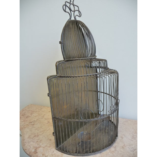 Large European Style Brass Bird Cage - Tabletop or Hangs Flat - Image 6 of 8