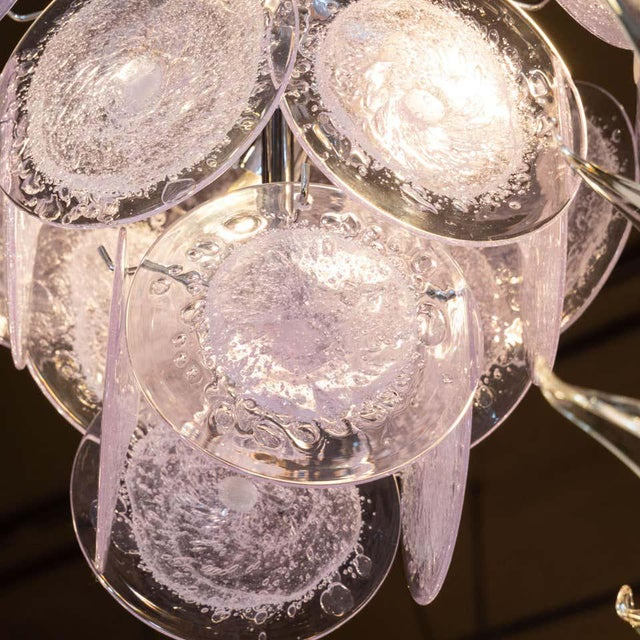 Vistosi Murano Hand Blown Murano Translucent Lavender and Chrome Three-Tier Disc Chandelier For Sale - Image 4 of 8