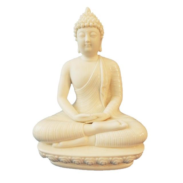 Blanc De Chine Porcelain Meditating Buddha For Sale