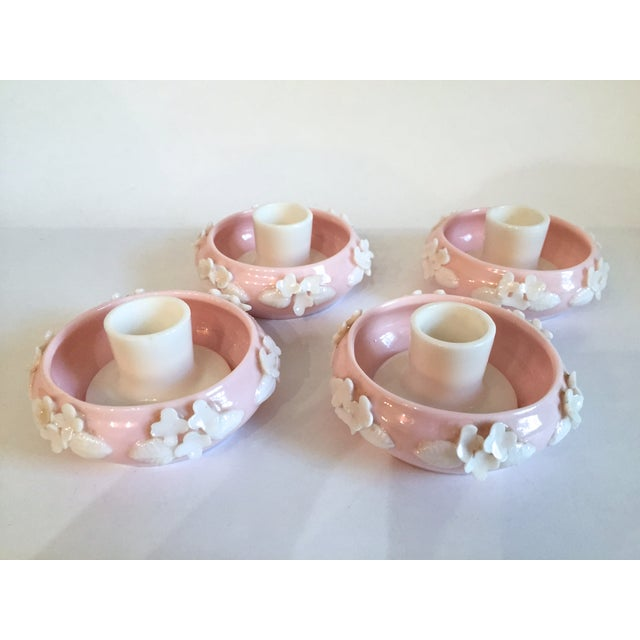 The seller says: Set of 4 vintage ceramic Norcrest Japan pastel pink candlestick holders. Not sure when these were made,...