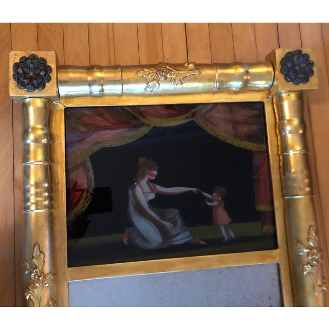 American 19th Century American Gilt Eglomise Original Wall Mirror For Sale - Image 3 of 13