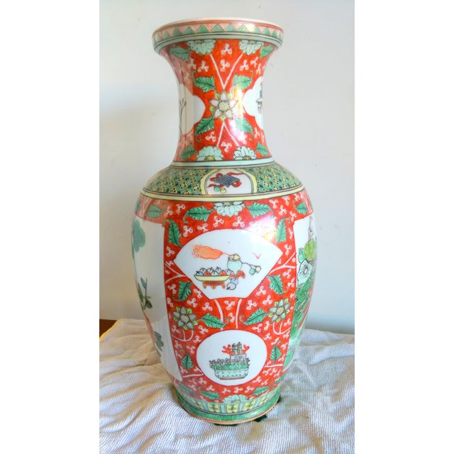 Vintage Hand Painted Asian Peacock Motif Vase - Image 3 of 8