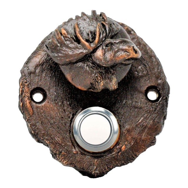Log End Moose Doorbell, Traditional Patina For Sale