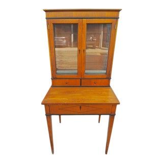 1940s French Biedermeier Birchwood Desk With 3 Drawers and 2 Glass Cabinet Doors For Sale