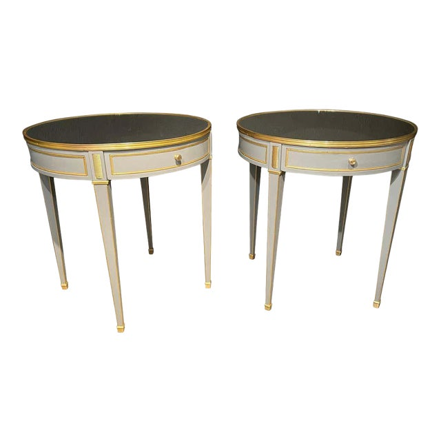 Vintage Jansen Style Painted End or Lamp Tables, Bouilliote Form - a Pair For Sale
