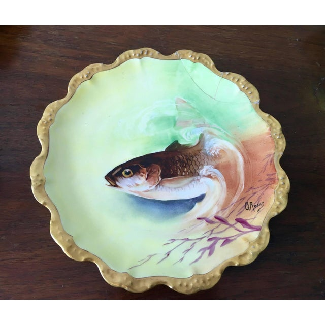 Limoges Hand-Painted Fish Service - Set of 15 - Image 5 of 10