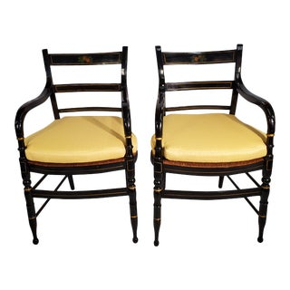 Late 19th Century American Black Painted Side Chairs- A Pair For Sale