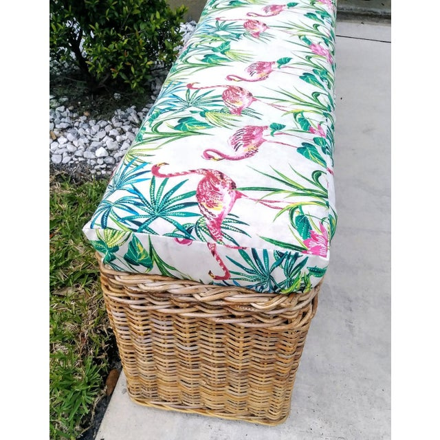 Vintage Wicker Heavy Duty Newly Custom Upholstered Hall End of Bed Bench Seat For Sale In West Palm - Image 6 of 11