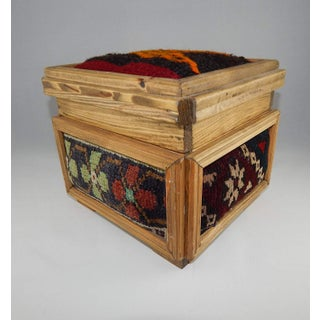 Vintage Kilim Chest, Handmade Wooden Unique Box, Gifts For Women, Jewellery Box, Decorative Storage, Tribal Turkish Decor Preview