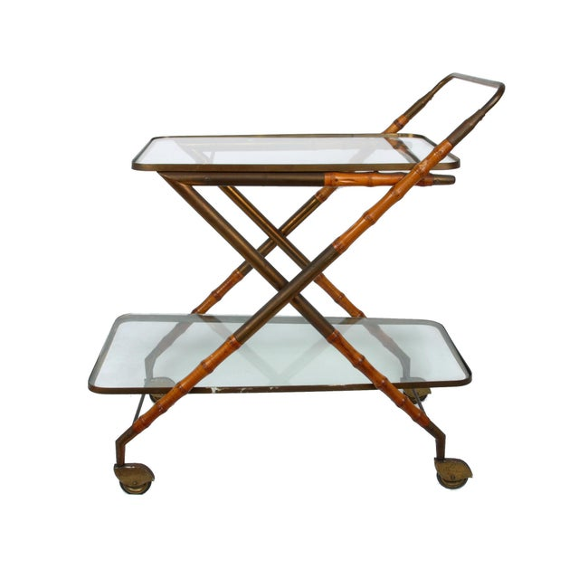 Cesare Lacca 1950 Cesare Lacca Brass Serving Cart For Sale - Image 4 of 8