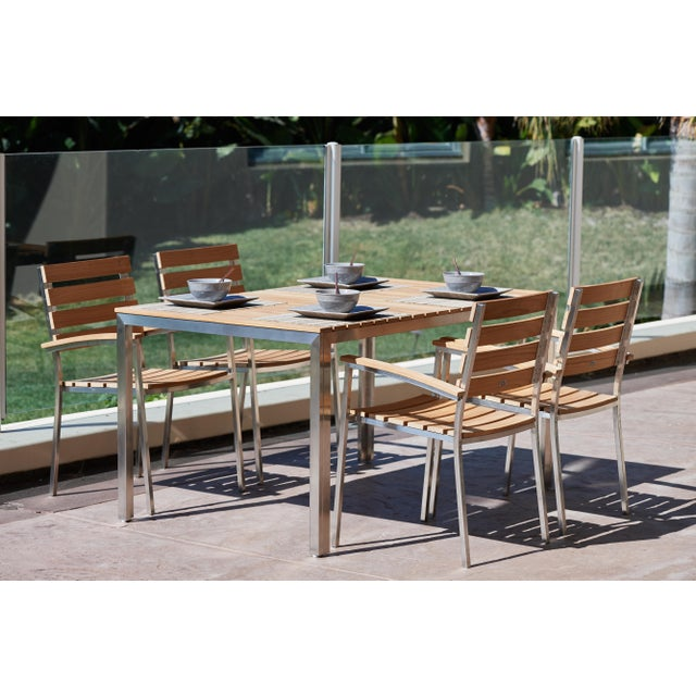 Al Fresco Teak and Metal Outdoor Dining Armchair (Set of 2) For Sale - Image 4 of 6