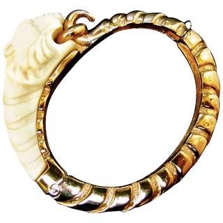 Ken Lane Sleek Tiger Bangle Bracelet C 1970 For Sale