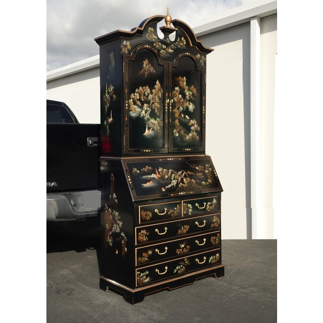 Vintage Chinese Asian Black Lacquer Chinoiserie Secretary Desk Hutch Hand Paint For Sale - Image 4 of 13