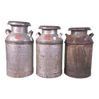 c. 1950 Hood Metal Milk Cans - Set of 3 For Sale