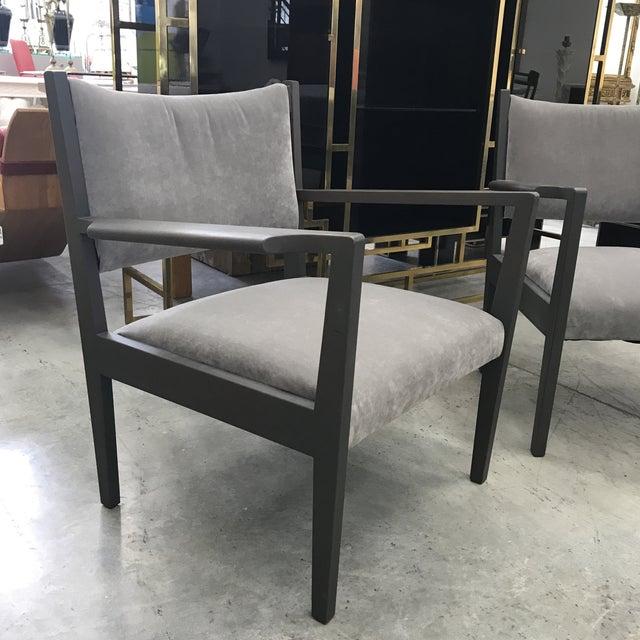 Mid-Century Modern 1950s Jens Risom Gray Velvet Armchairs - a Pair For Sale - Image 3 of 13