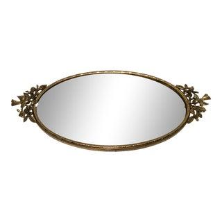 1960s Hollywood Regency Gold Oval Dresser Mirror For Sale