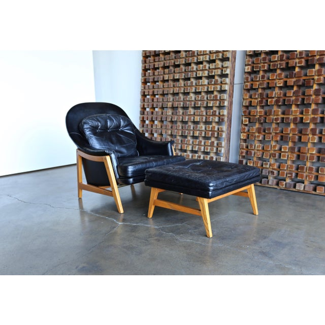 Edward Wormley for Dunbar Leather Lounge Chair and Ottoman Circa 1957 For Sale - Image 13 of 13