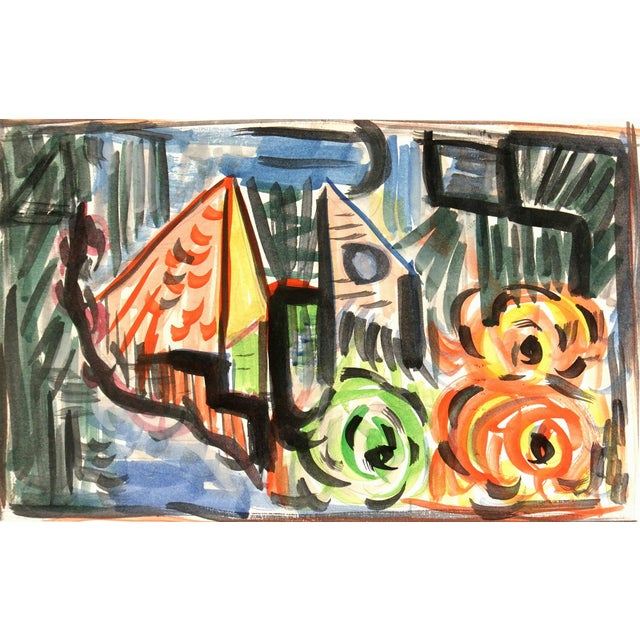 Vintage Abstract Watercolor Painting - Image 1 of 3