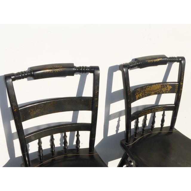 Black Vintage Spindle Back Windsor Chairs - A Pair - Image 5 of 11