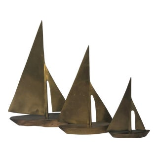 Mid-Century Brass Sailboats - Set of 3 For Sale