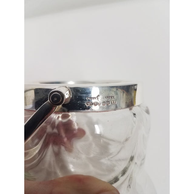 Antique English Crystal Glass Silverplate Biscuit Jar For Sale - Image 4 of 7