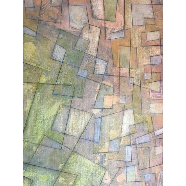 Abstract Colorful Graphite on Canvas For Sale - Image 4 of 6