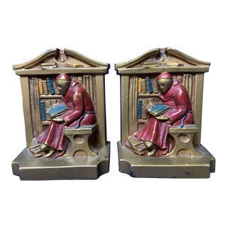 1920s Monk in Library Bookends by Louis V. Aronson - a Pair For Sale