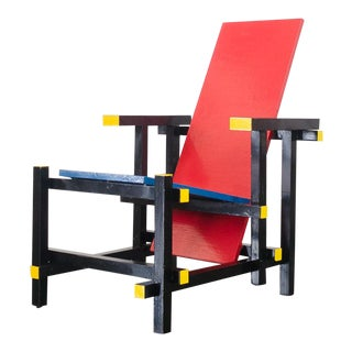Gerrit Rietveld Style De Stijl Red and Blue Side Chair