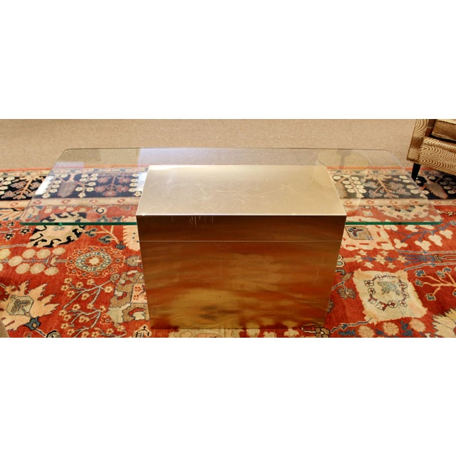 Gold Mid-Century Modern Paul Evans Cantilever Brass Glass Cityscape Coffee Table For Sale - Image 8 of 12