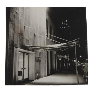 City Street at Night 1960s Black and White Photograph For Sale