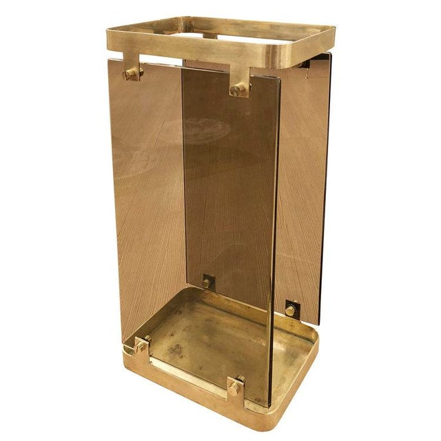 Brass Fontana Arte Brass Umbrella Stand With Smoked Glass For Sale - Image 7 of 7