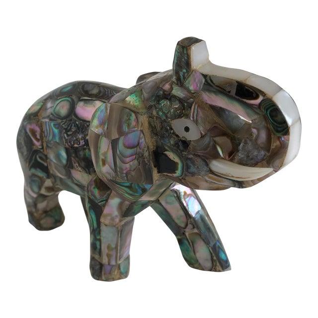 Vintage Abalone Shell Inlay Elephant Figure - Image 1 of 11