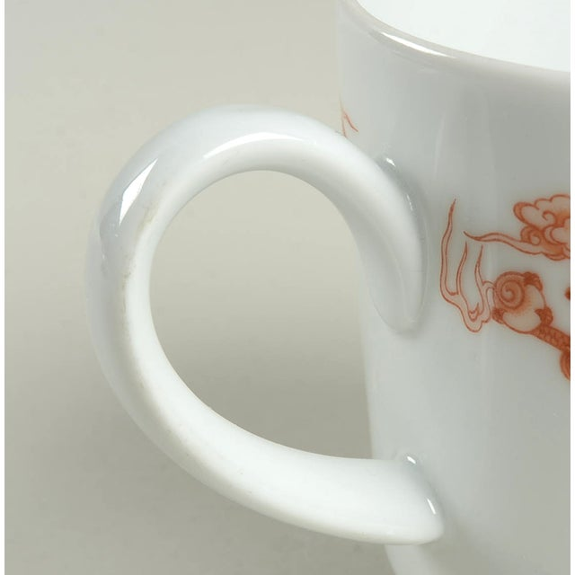 Late 20th Century Fukagawa for Tiffany Dragon Red Cup & Saucer Set/6 For Sale - Image 5 of 11