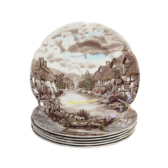 """Johnson Brothers Johnson Bros """"Olde English Countryside"""" Brown Transferware Dinnerplates - Set of 6 For Sale - Image 4 of 4"""