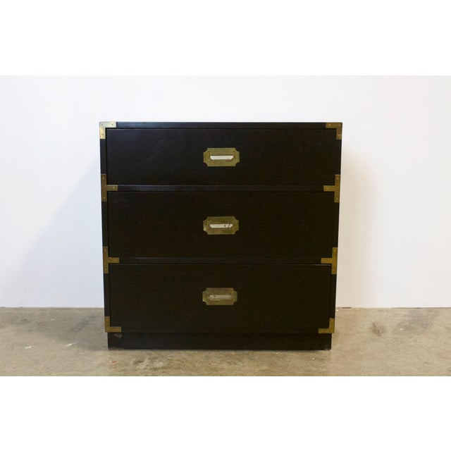 Black Lacquered Three Drawer Campaign Chest For Sale - Image 12 of 12