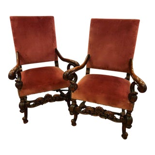 Pair of Antique Italian Carved Walnut Armchairs For Sale